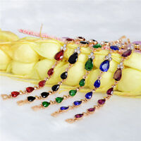 Fashion Women Multicolor Crystal Gold Plated Women Chain Bracelet Bangle