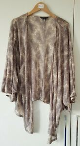 Topshop Cardigan Size S/M Peacock Print Beige Open Front Waterfall Summer Casual