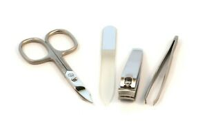 4 Part Manicure set with pouch - Quality tools by Hans Kniebes and Mont Bleu