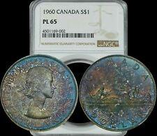 1960 Canada Silver Dollar NGC PL65  TRUE MONSTER Color Toning & Design