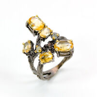 Citrine Ring 925 Sterling Silver Size 6.75 /RT18-0026