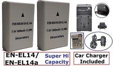 2-Pcs EN-EL14a Hi Capacity Battery + Dual 110/220V Charger For Nikon D5600