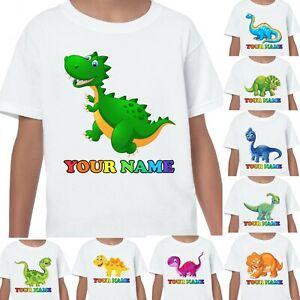 Dino Personalised Name Dinosaurs T-shirt Printed Kids Birthdays Gifts Age 1-13
