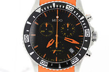 NWOT Men's Mido Ocean Star Captain M0114171705190 Black Dial Orange Strap Watch