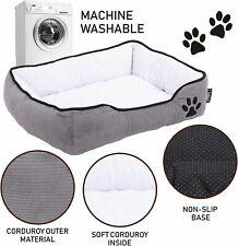 Hoppa Soft Rectangular Non Slip Dog Bed Machine Washable Small Grey / Cream