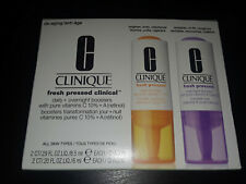 NIB CLINIQUE FRESH PRESSED CLINICAL - 2 DAILY + 2 OVERNIGHT BOOSTERS - FULL SIZE