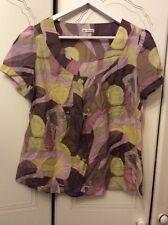 Ladies M&S AUTOGRAPH cotton Silk Lilac Mix Lightweight Autumn top Size14PNew