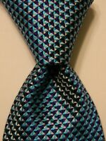RICHARD JAMES Mens Silk Necktie ENGLAND Luxury Geometric Turquoise/Blue/Gray EUC