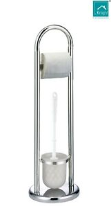 Knight Freestanding Toilet Roll and Brush Holder, Chrome Plated, Round Base