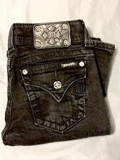 """Sz 26 LONG Miss Me Black Jeans Flap Pockets 20"""" Flare (Actual 28X33"""") js4009F26"""