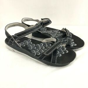 Clarks Collection Womens Sandals Strappy Hook & Loop Textured Black Size 7.5