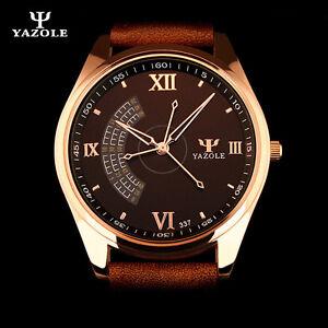 Watch Luxury Quartz Japanese Man Yazole Classic Leather Strap Men
