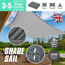 More details for heavy duty sun shade sail garden patio awning canopy 98% uv block waterproof uk