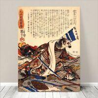 "Vintage Japanese SAMURAI Warrior Art CANVAS PRINT 18x12"" Kuniyoshi Horse #090"