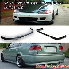 TR Style Front Lip (PP) + TR Style Rear Bumper Lip (PU) Fit 92-95 Civic 4dr