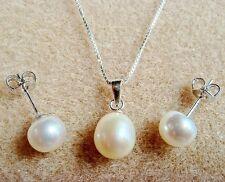 Ivoire Blanc Collier De Perles D'eau Douce Pendentif En Larme SET Clous mariage