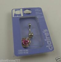 Rose pink crystal belly button ring piercing, body jewelry bling Dangle flower