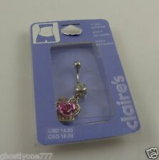 Rose pink crystal belly button ring, piercing, body jewelry, bling Dangle flower