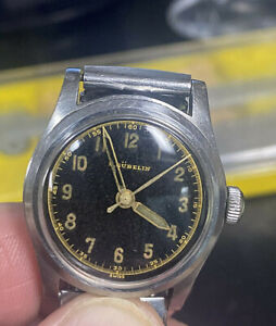 Vintage E.Gübelin Military Style Men's Watch Stainless Steel Case & Stretch Band