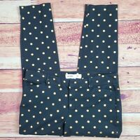 Old Navy Pixie Pants Womens SZ 10 Black Gold Polka Dots Mid Rise Stretch Shimmer