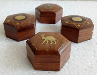 Wooden Box Vintage Design Hand Carved Brass Fitted Trinket Jewelry Box Lot of 4