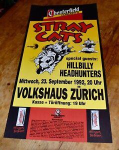 STRAY CATS hillybilly headhunters ORIGINAL SWISS CONCERT POSTER 1992 ZURICH