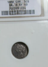 1886 Small 6 Canada Silver Five Cents Coin. NGC EF40 Queen Victoria Nickel