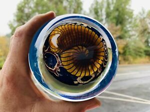 "Signed RICHARD SATAVA XL hand blown 4.75"" Gold Nautilus on Cobalt Paperweight"