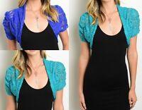 Ruched Short Sleeve Stretch Lace Bolero/Shrug/Cardigan Teal or Royal Blue S M L