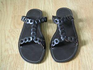 GAP Ladies Leather Slide Flat Sandals Brown Size 5 / 38