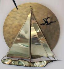 Stuart Hurd Coastal Sunset Sailboat Brass Copper Wall Sculpture Artist Signed 91