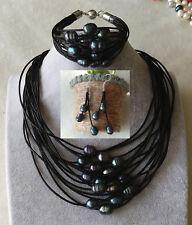 15 Reihen 10-11mm Schwarz Süßwasser Perle Leder Halskette Armband Ohrringe set