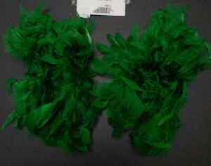 NWT Dark Kelly Green Feathered Chandelle Boa Armbands Dance Accessory One Size
