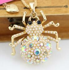 crystal Rhinestone spider golden necklace Jewelry Charm Betsy Johnson Pendant