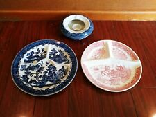 Antique MORIYAMA BLUE WILLOW GRILL PLATE CHAFFING DISH WARMER  BASE  PINK