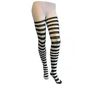 Black And White Striped Fancy Dress Tights Ladies