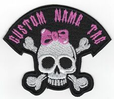 Custom Embroidered Girl Skull name Tag Motorcycle BIKER Badge