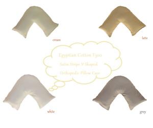 Egyptian Cotton T250 Satin Stripe V Shape Orthopaedic Pillowcase Multiple Colour