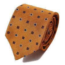 NWT $230 ISAIA 7-Fold Amber Orange Jacquard Pattern Silk Tie