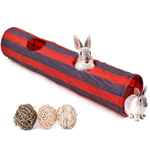 Bunny Tunnel, Rabbit Tunnels and Tubes, 3 Pack of Grass Balls - Collapsible Toys