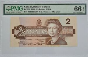 1986 BANK OF CANADA $2 **Crow & Thiessen** PMG66 EPQ GEM UNC【BC-55b】
