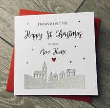 Personalised First Christmas in Your Home Card House Hearts Diamantes