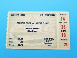 GEORGIA TECH at NOTRE DAME - COLLEGE FOOTBALL TICKET - 1943 - NATIONAL CHAMPIONS