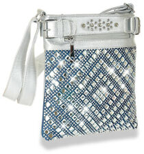 New Rhinestone Diamond Pattern Design Crossbody Sling Handbag Purse Blue Silver