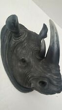 Vtg. 2011 Black Rhinoceros Bust Sculpture Double Horn Wall Mount