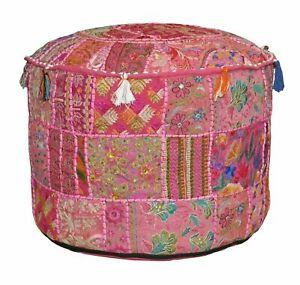 Indian Patch Pouffe Round Floor Pillow Stool Pouf Ottoman Vintage Ethnic Decor
