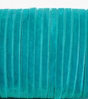 5m x Turquoise Cyan blue/green velvet ribbon 7mm wide