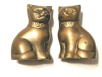 Vintage Pair of Brass Cats Mid Century Made in Korea Heavy for paper weights