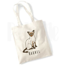 Personalised 'Siamese' Cat Canvas Tote Bag- GIFT FOR PET CAT OWNER