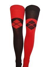 WOMENS GIRLS HARLEY QUINN JOKER STYLE OVER THE KNEE SOCKS - 1 BLACK & 1 RED